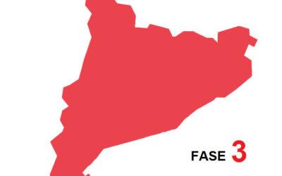 Comunicat 19 / 2020 – Progressió a Fase 3 de la regió sanitària de Lleida i Barcelona. Ampliació a unitat territorial de Catalunya.